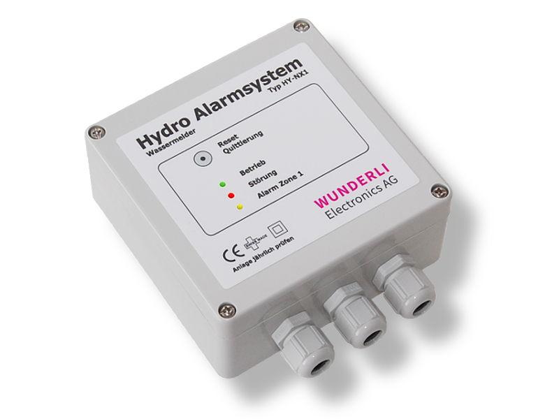 Eine Abbildung des Steuergerätes HY-NX1 zur Überwachung von Wasser im Liftschacht oder der Rolltreppengrube.